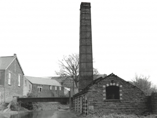 36. Pump House at Clydach.  The chimney was taken down by hand.  Mayberry's slaughter house was on left.  Darren Colliery.