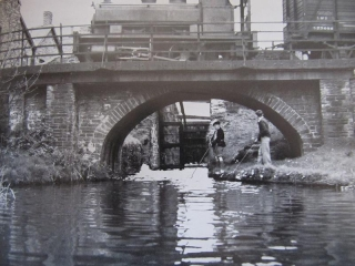 60. John Hutchings who went on to be Chief Engineer of the Swansea Canal from 1954 - 1994 and his brother.  Picture was taken in 1949. An Andrew Barclay Saddle Tank of John Player's Tinplate Works. Cwm Clydach Lock.