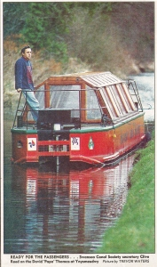 Our trip boat on the Swansea Canal skippered by Clive Reed. A vision from the 1990s that we hope to  make real once again.