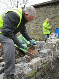 Gareth working on the wall with Andy.