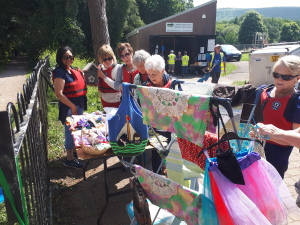 Our craft stall beseiged by the Ammandford Ramblers!