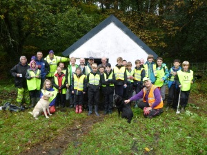 The 32nd Scout Group, some parents, Ben the leader, with Michelle and SCS volunters, not forgetting the dogs.